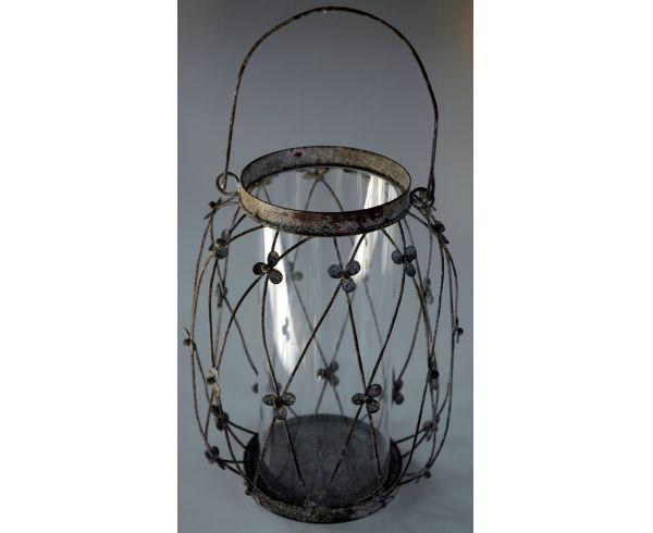 706 - Lanterna metal e vidro com alça